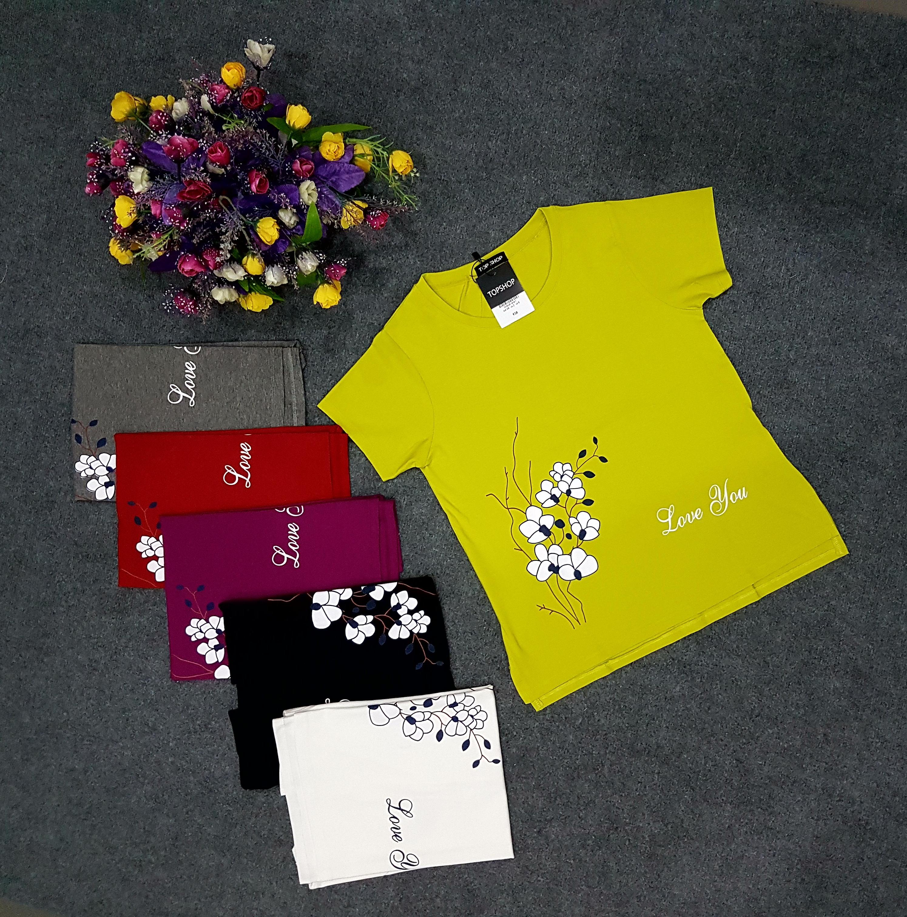 4f2fdb7627abe0 Áo thun phom rộng sẻ tà in hoa